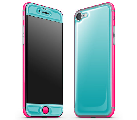 Teal / Neon Pink <br>iPhone 7/8 - Glow Gel Combo
