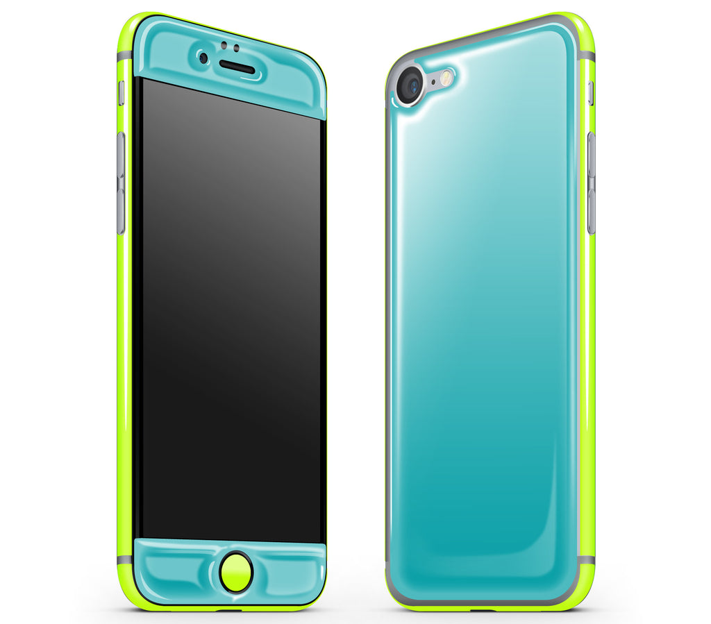 Teal / Neon Yellow <br>iPhone 7/8 - Glow Gel Combo