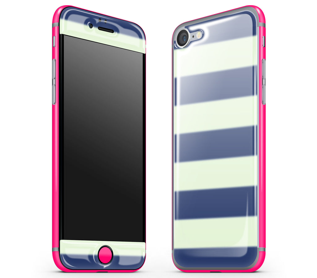 Nautical Striped / Neon Pink <br>iPhone 7 - Glow Gel Combo