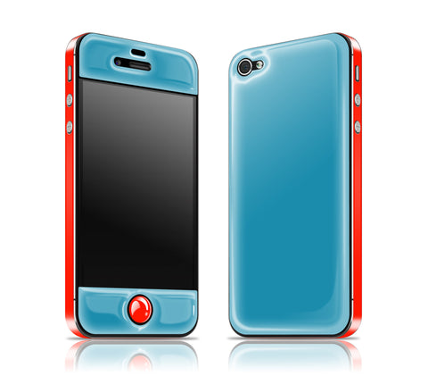 Electric Blue / Fire Red<br> Glow Gel skin - iPhone 4 / 4s