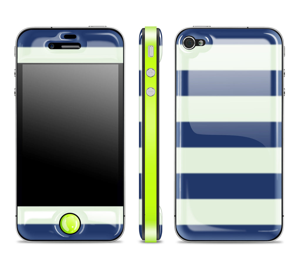 Nautical Striped / Neon Yellow<br> Glow Gel skin - iPhone 4 / 4s