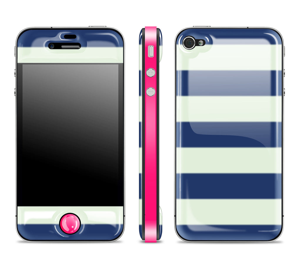 Nautical Striped / Neon Pink<br> Glow Gel skin - iPhone 4 / 4s