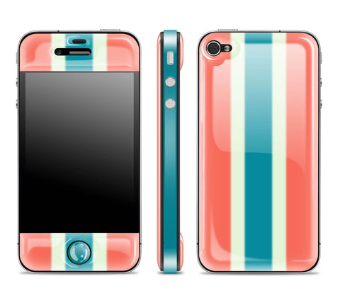 Peach Striped / Teal<br> Glow Gel skin - iPhone 4 / 4s