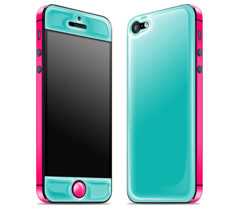 Teal / Neon Pink <br>iPhone 5 - Glow Gel Combo