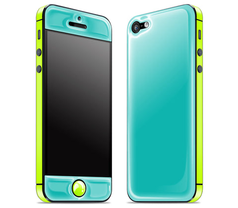 Teal / Neon Yellow <br>iPhone 5 - Glow Gel Combo