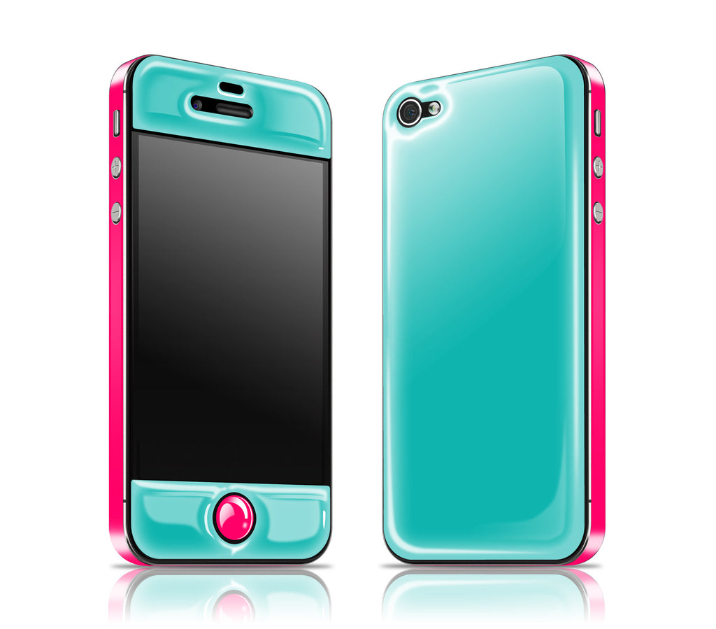 Teal / Neon Pink<br> Glow Gel skin - iPhone 4 / 4s