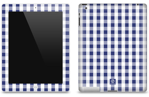Navy & White Check <br>Matte Skin - iPad 2 & 3
