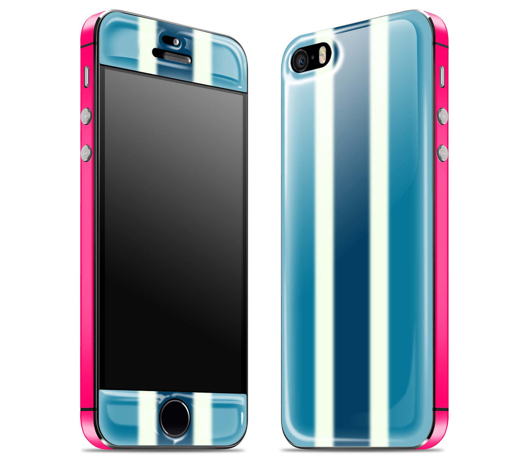 Blue Striped / Neon Pink <br>iPhone 5s - Glow Gel Combo