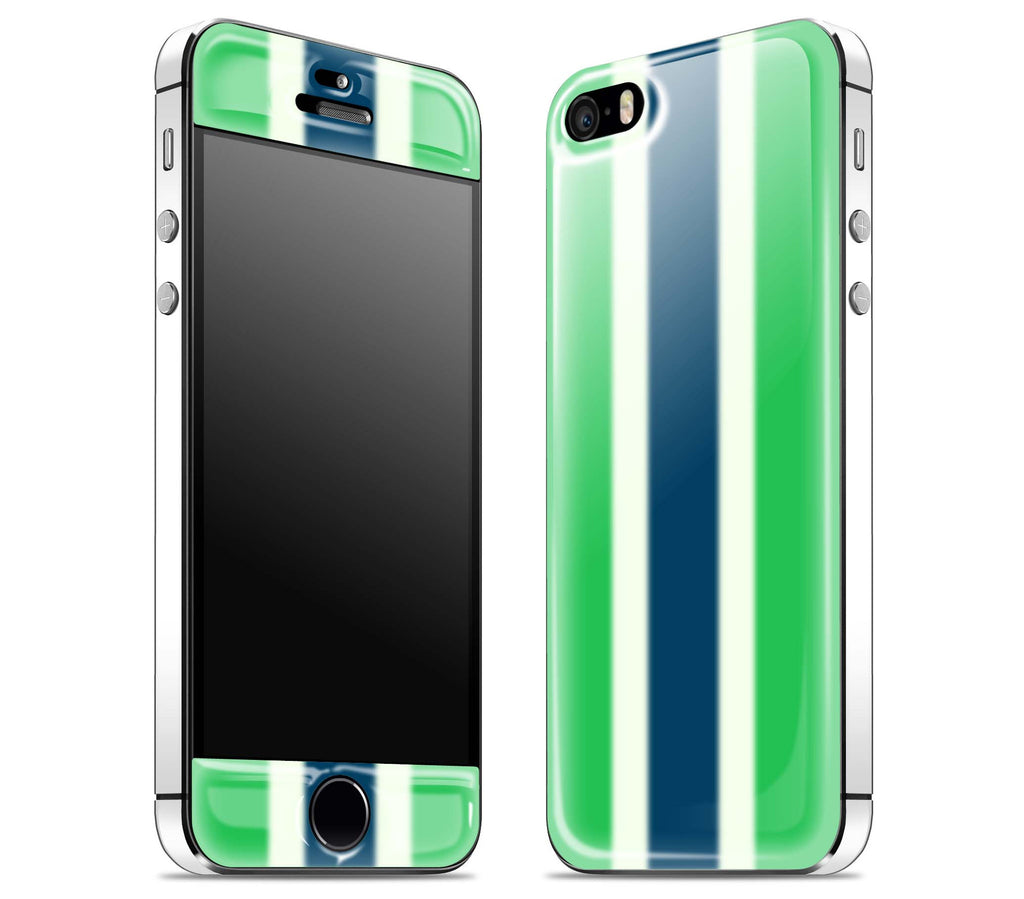Green Striped / White <br>iPhone 5s - Glow Gel Combo