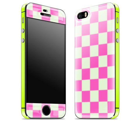 Pink Checkered / Neon Yellow <br>iPhone 5s - Glow Gel Combo