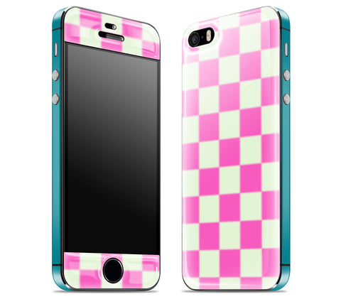 Pink Checkered / Teal <br>iPhone 5s - Glow Gel Combo