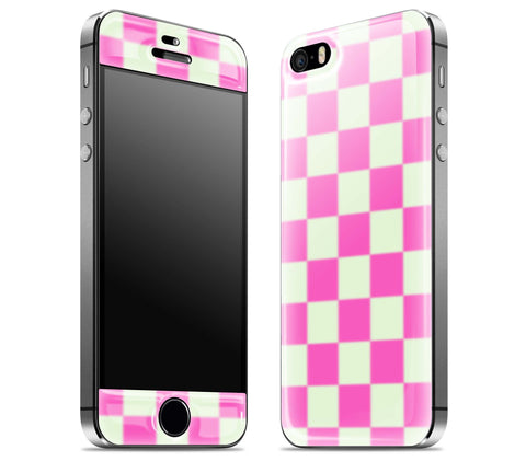 Pink Checkered <br>iPhone 5s - Glow Gel Skin