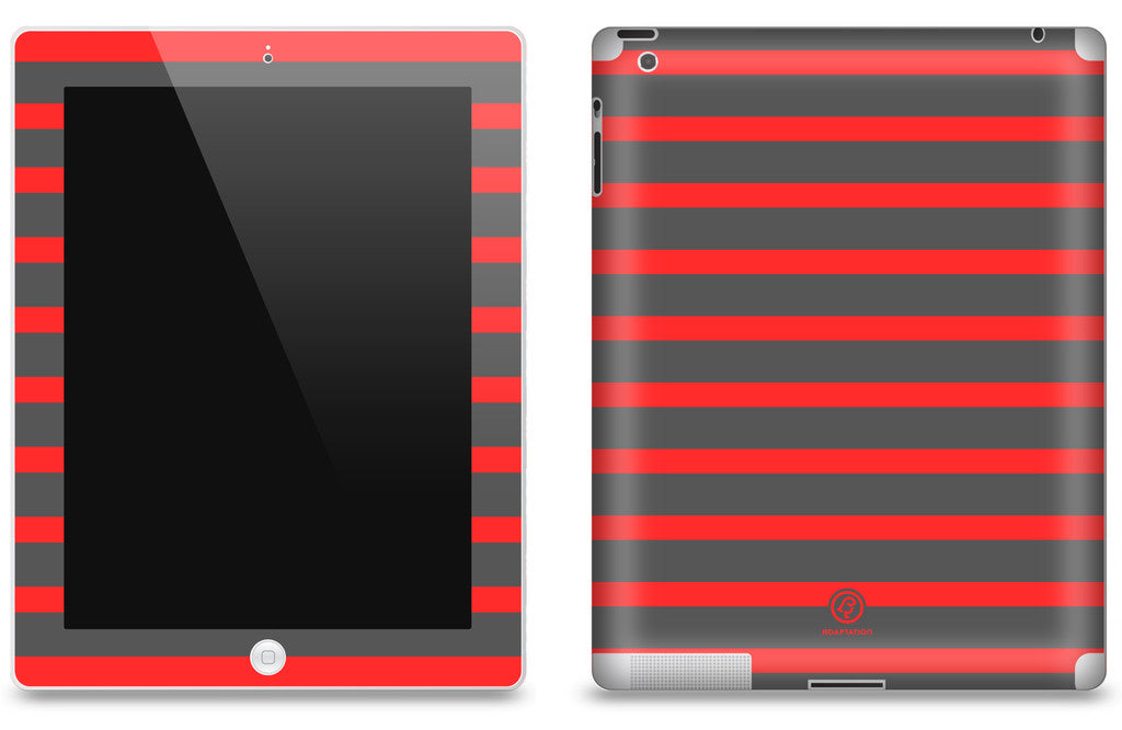 Grey & Red Striped <br>Matte Skin - iPad 2 & 3