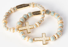 Stacked Medium and Large Gold Turquoise Cross