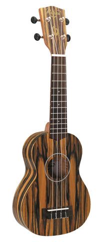 21 inch. White Ebony Soprano Ukulele Nato Neck with Matte Finish