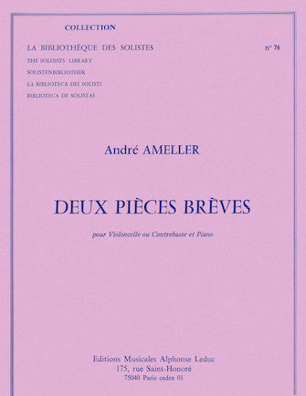 Ameller 2 Pieces Breves Lm076 Cello Or Double Bass & Piano Book
