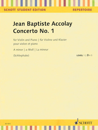 Accolay Concerto No. 1 in A Minor Violin and Piano
