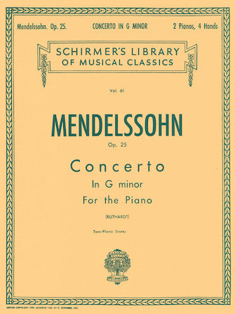 Mendelssohn - Concerto No. 1 in G Minor, Op. 25 (four hands)