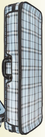 Lightweight violin suspension case with plaid fabric exterior