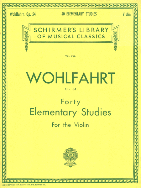 40 Elementary Studies, Op. 54-violin - Wohlfahrt cover image