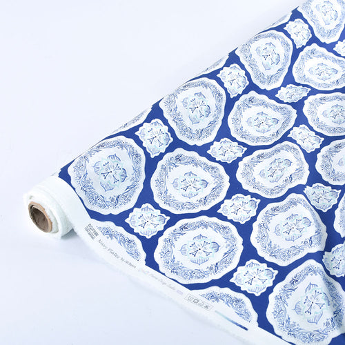 Navy Plates - Quilting Cotton [1yd]