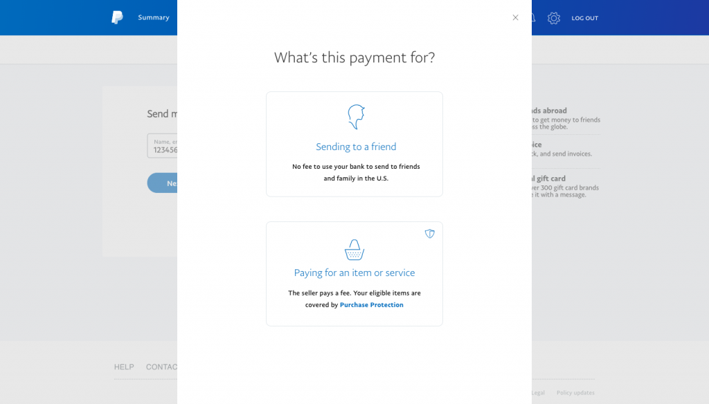 PayPal—Choose Sending to a friend