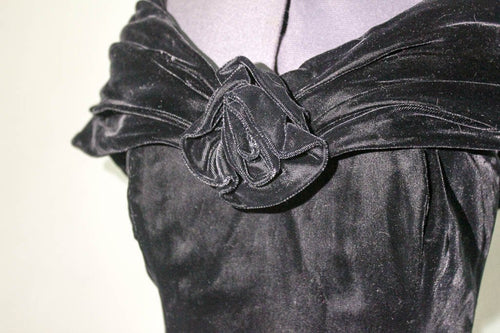 Vintage Dropped Shoulder Velvet 80's Dress - Vintage Pygmy