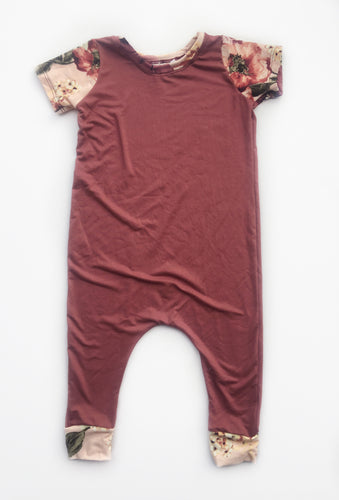 Mauve with Floral Harem Coverall - Vintage Pygmy