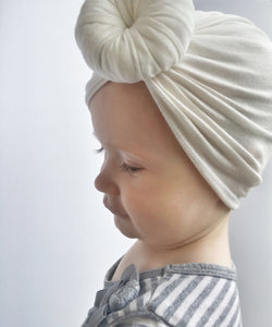 White Knotted Baby Turban - Vintage Pygmy