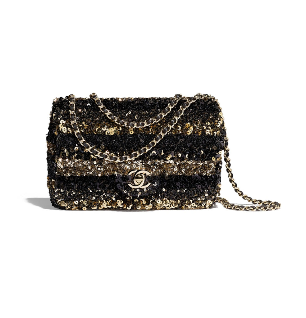 CHANEL FLAP BAG SEQUINS & GOLD-TONE METAL - Boss Ladies