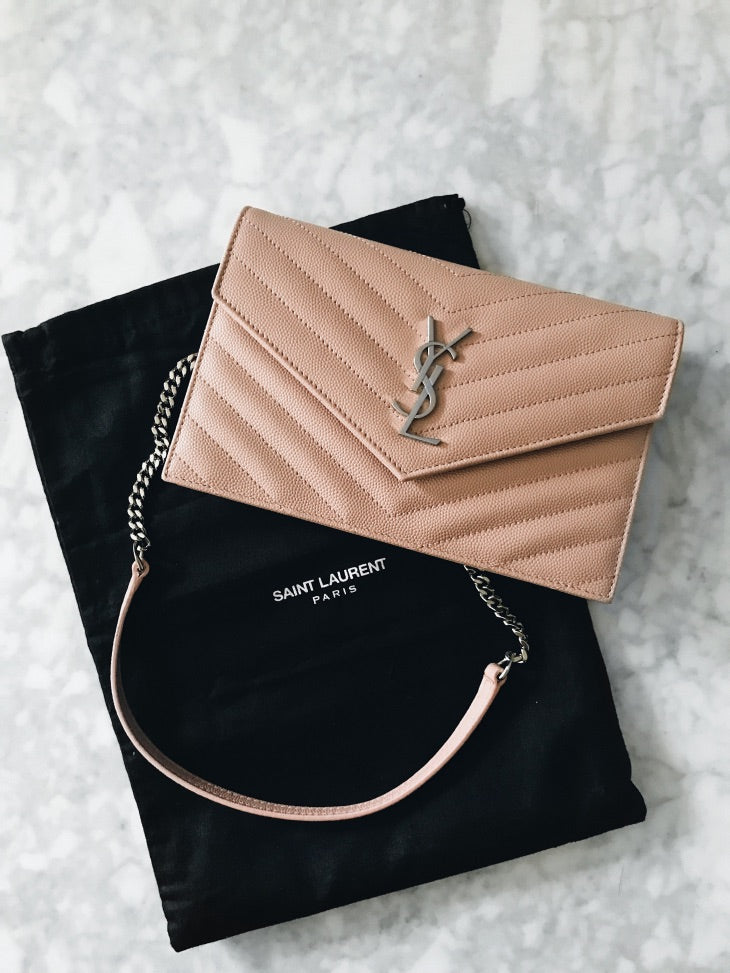 YSL ENVELOPE CHAIN WALLET FUCHSIA - Boss Ladies