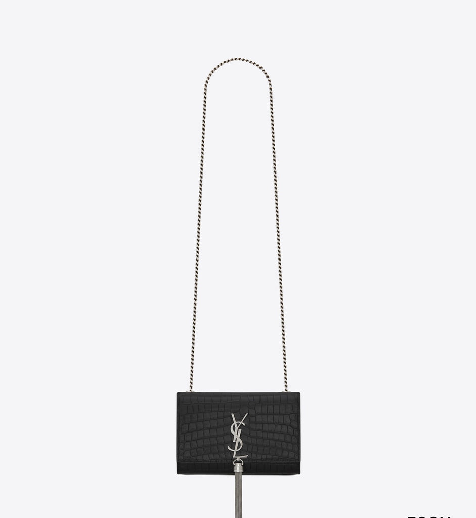 YSL KATE SMALL WITH TASSLE CROCODILE BLACK - Boss Ladies