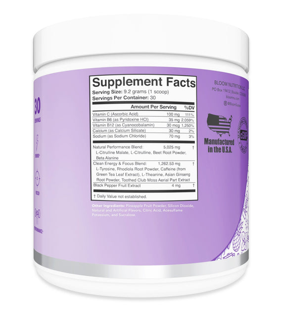 Blueberry Acai High Energy Pre-Workout Supplement Facts