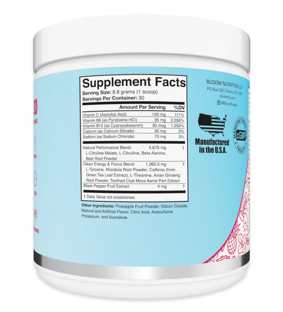 Fruit Punch High Energy Pre-Workout Supplement Facts