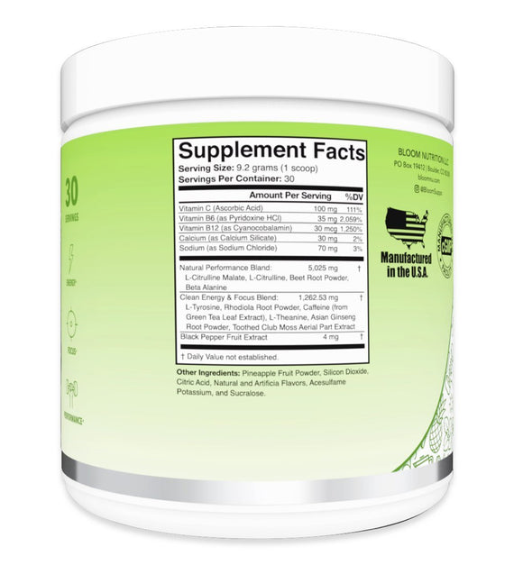 Green Apple High Energy Pre-Workout Supplement Facts