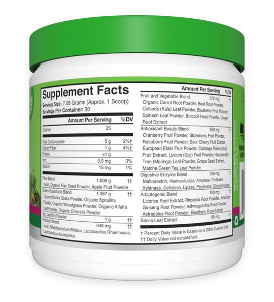 Mixed Berry – 30 Ct Greens & Superfoods Supplement Facts