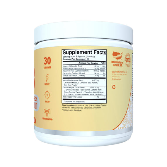 Mango Sorbet High Energy Pre-Workout Supplement Facts