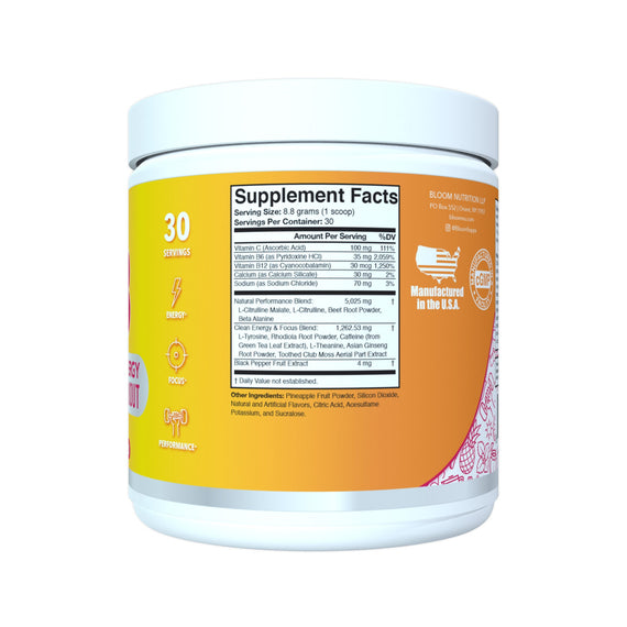 Strawberry Mango High Energy Pre-Workout Supplement Facts