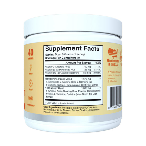 Mango Sorbet Original Pre-Workout Supplement Facts