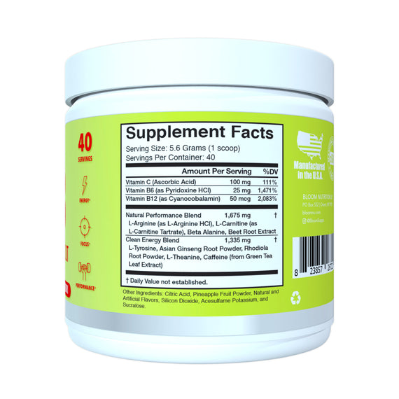 Strawberry Daiquiri Original Pre-Workout Supplement Facts