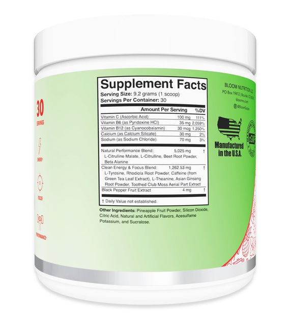 Strawberry Margarita High Energy Pre-Workout Supplement Facts