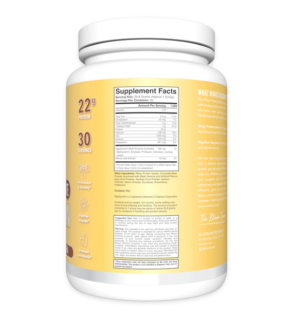Chocolate Banana Whey Isolate Protein Supplement Facts