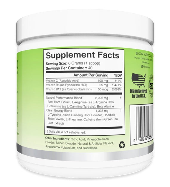 Green Apple Original Pre-Workout Supplement Facts