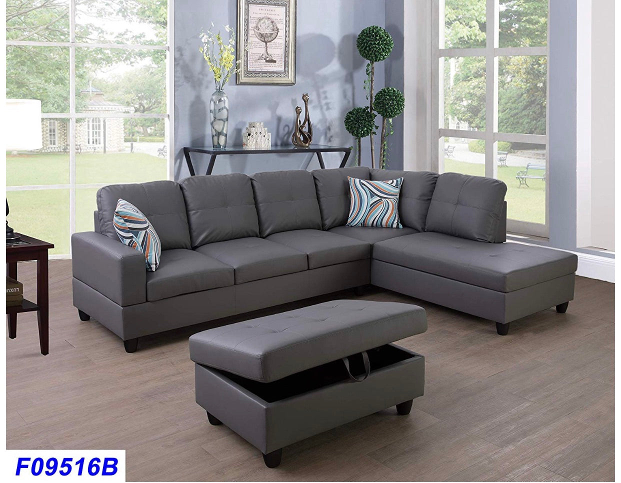 Sofa sectional couch ottoman Leather right facing