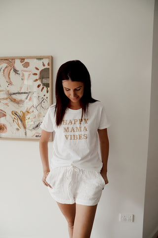 Happy Mama Vibes - White