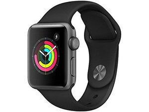Apple Smart Watch 38mm Watch Series 3 - GPS - Space Gray Aluminum Case with Black Sport Band - 38mm - Augment Hub