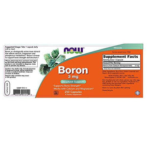 NOW Boron 3 mg,250 Capsules - Augment Hub