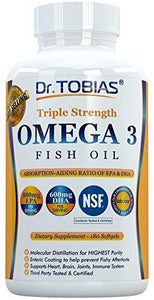 Dr. Tobias Omega 3 Fish Oil Triple Strength, Burpless, Non-GMO, NSF-Certified, 180 Counts - Augment Hub