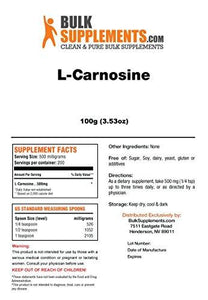 BulkSupplements Pure L-Carnosine Powder (100 grams) - Augment Hub