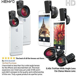 Xenvo iPhone Camera Lens Kit Pro - Macro Lens & Wide Angle Lens with LED Light, Clip-On Cell Phone Camera Lenses for iPhone, Android, Samsung Mobile Phones and Tablets - Augment Hub